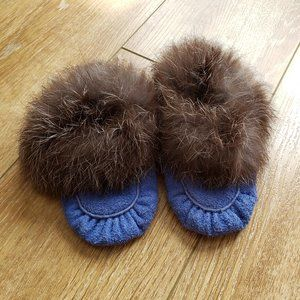 Suede and Rabbit Fur Moccasins